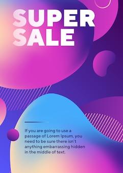 Plakat super sprzedaż z abstrakcyjnych kształtów płynów i tekstu