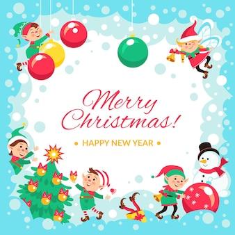 Plakat świąteczne elfy. kartkę z życzeniami świątecznymi nowego roku, śmieszne małe ludziki, pomocnicy mikołajów, główne obchody zimy, koncepcja wektor