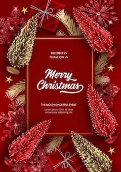 Plakat świąteczno-noworoczny ze sztucznymi choinkami w kolorze czerwonym i złotym