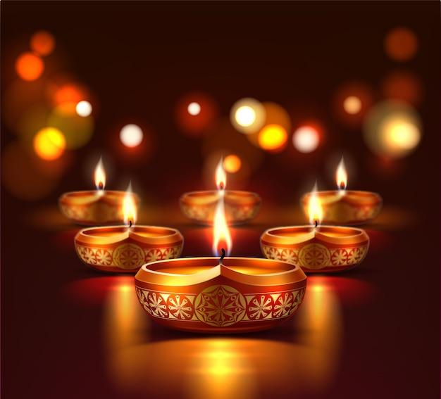 Plakat świąteczny diwali z realistycznymi świecącymi świecami diya. tradycyjne święto hinduskie, indyjskie święto religijne. duchowy festiwal indii, szablon plakatu reklamowego.