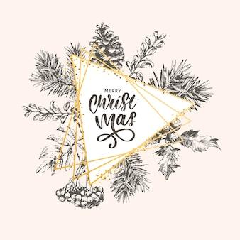 Plakat świąteczny - ilustracja. ilustracja napis boże narodzenie ramki z gałęzi choinki.
