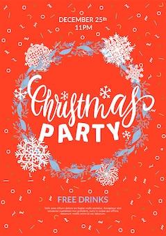 Plakat świąteczny. kartkę z życzeniami z świąteczny wieniec z płatków śniegu