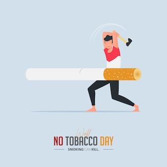 Plakat światowego dnia bez tytoniu dla koncepcji zatrucia papierosami.