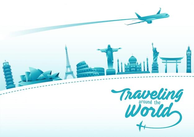Plakat światowego dnia turystyki z elementami słynnych zabytków i miejsc turystycznych