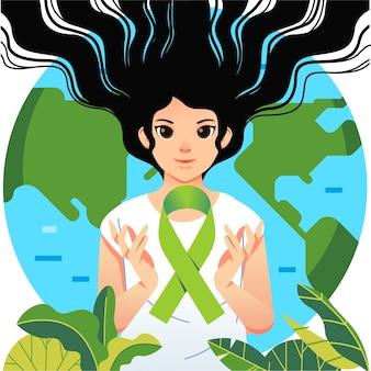 Plakat światowego dnia zdrowia psychicznego ilustrowany kobietami i zieloną wstążką
