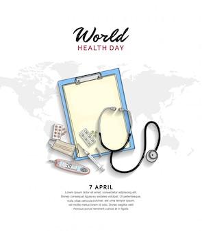 Plakat światowego dnia zdrowia ze sprzętem medycznym