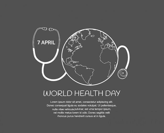Plakat światowego dnia zdrowia ze stetoskopem i kulą ziemską