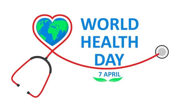 Plakat światowego dnia zdrowia ze stetoskopem w płaskiej konstrukcji. znak globu i stetoskop, koncepcja ekologii