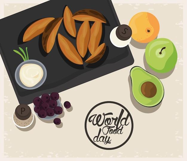 Plakat światowego dnia żywności z warzywami w desce beżowej ilustracji