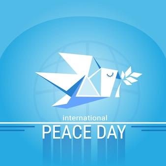 Plakat światowy dzień pokoju biały ptak origami dove