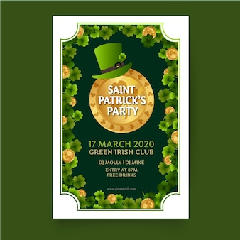 Plakat świętego patryka z elfim zielonym kapeluszem