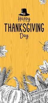 Plakat święto dziękczynienia z liśćmi kolby kukurydzy dyni i spica na białym tle na tle drewna