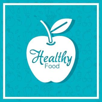 Plakat świeżych owoców apple z zdrowej żywności wzór