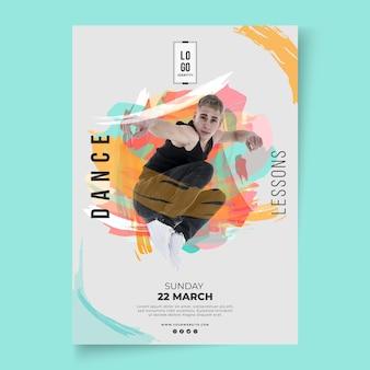 Plakat szablon lekcji tańca