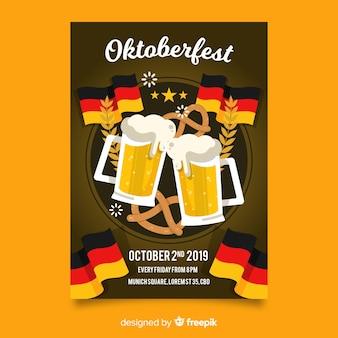 Plakat szablon oktoberfest płaska konstrukcja