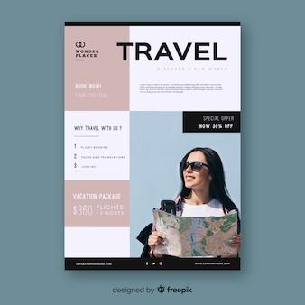 Plakat szablon podróży ze zdjęciem