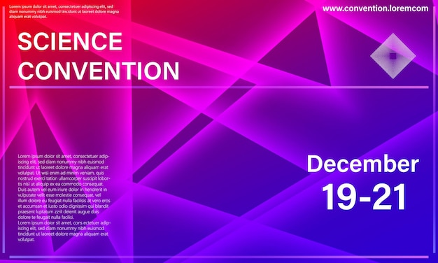 Plakat. szablon projektu konferencji. trójkąt kolorowe elementy.