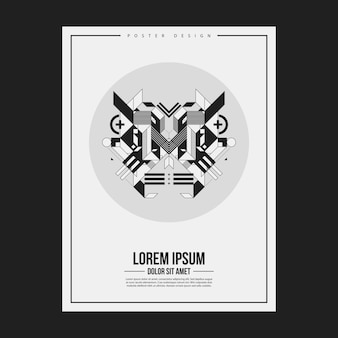 Plakat / szablon projektu wydruku z symetrycznym elementem abstrakcyjnym na białym tle. przydatne w przypadku książek i czasopism.