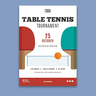 Plakat szablon tenis stołowy