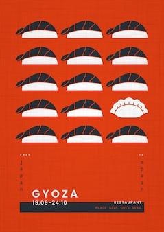 Plakat szablon wydruku geometrycznego japońskiego jedzenia