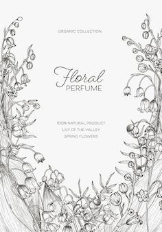 Plakat szablon z kwiatami konwalii ręcznie rysowane z czarnymi liniami konturowymi na białym tle.