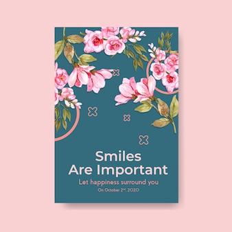 Plakat szablon z projektem bukietu kwiatów dla koncepcji światowego dnia uśmiechu do reklam i marketingowych ilustracji wektorowych akwarela.