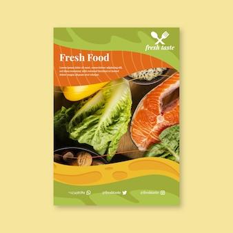 Plakat szablon ze zdrową żywnością dla restauracji