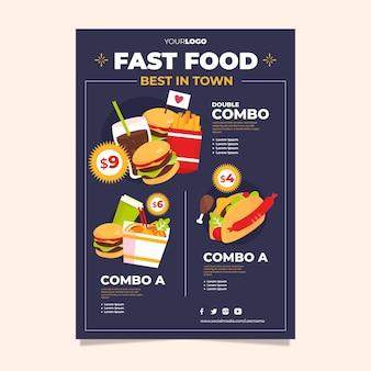 Plakat szablonu posiłków combo