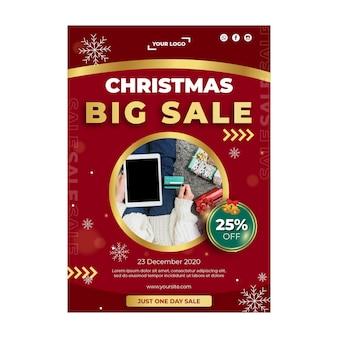 Plakat szablonu reklamy świątecznej sprzedaży