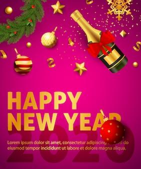 Plakat szczęśliwego nowego roku 2020