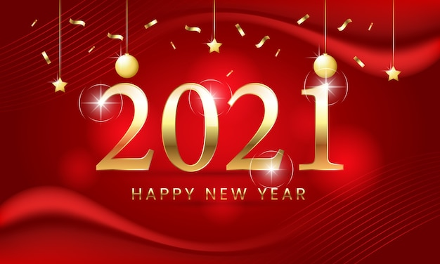 Plakat szczęśliwego nowego roku 2021