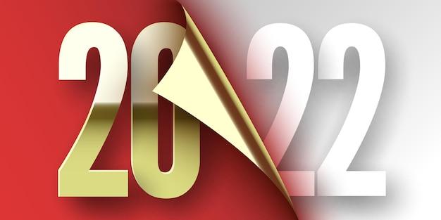 Plakat szczęśliwego nowego roku. czerwona wstążka z zakrzywioną krawędzią na białym tle. naklejka.