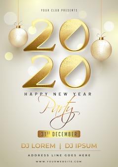 Plakat szczęśliwego nowego roku z błyszczącym tekstem 2020 i wiszącymi bombkami na błyszczącym.