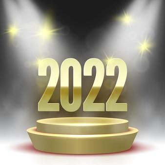 Plakat szczęśliwego nowego roku z okrągłym podium i reflektorami. złoty cokół.