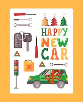 Plakat szczęśliwego nowego samochodu typografii