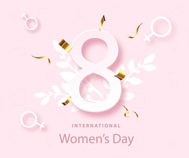 Plakat szczęśliwy dzień kobiet. święto 8 marca. wiosenny projekt. kartka z życzeniami.