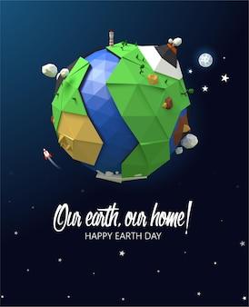 Plakat szczęśliwy dzień ziemi