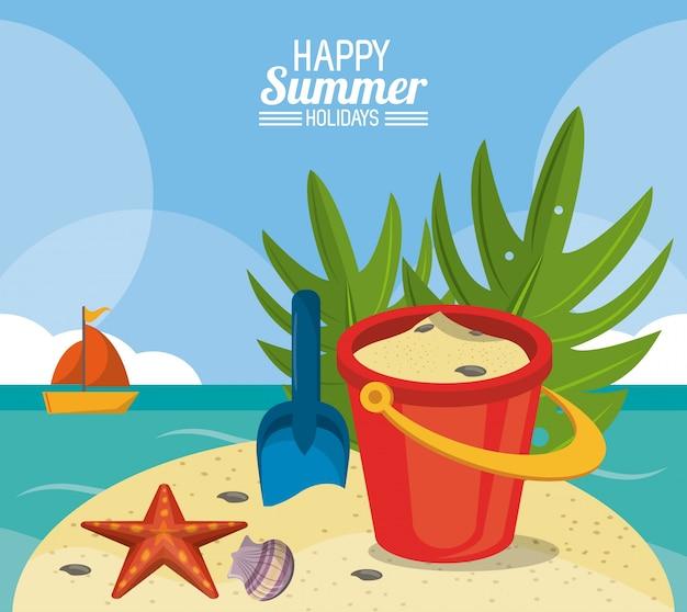 Plakat szczęśliwy lato wakacje