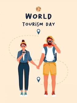 Plakat szczęśliwy światowego dnia turystyki