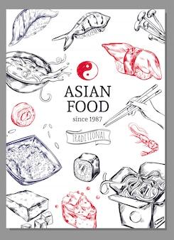 Plakat szkicu kuchni azjatyckiej
