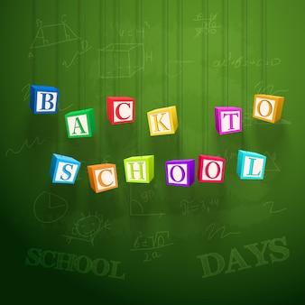 Plakat szkolny z wiszącymi kolorowymi kostkami z literami