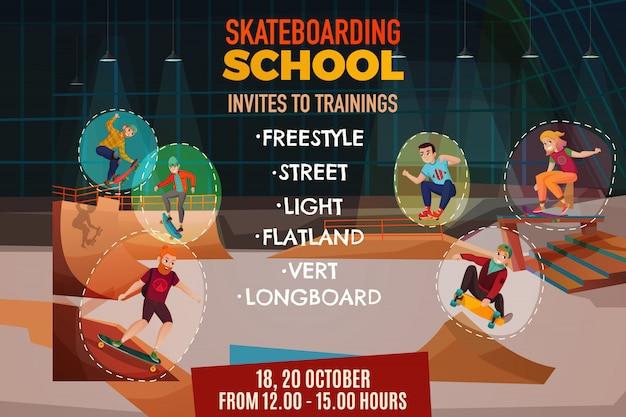 Plakat szkoły skateboardingu