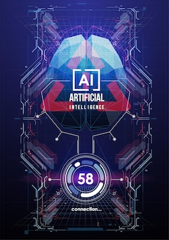 Plakat sztucznej inteligencji w futurystycznym stylu