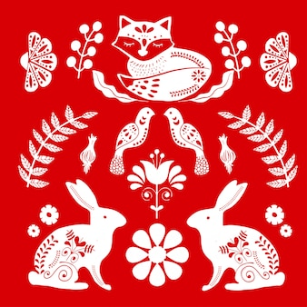 Plakat sztuki ludowej z lisem i królikami