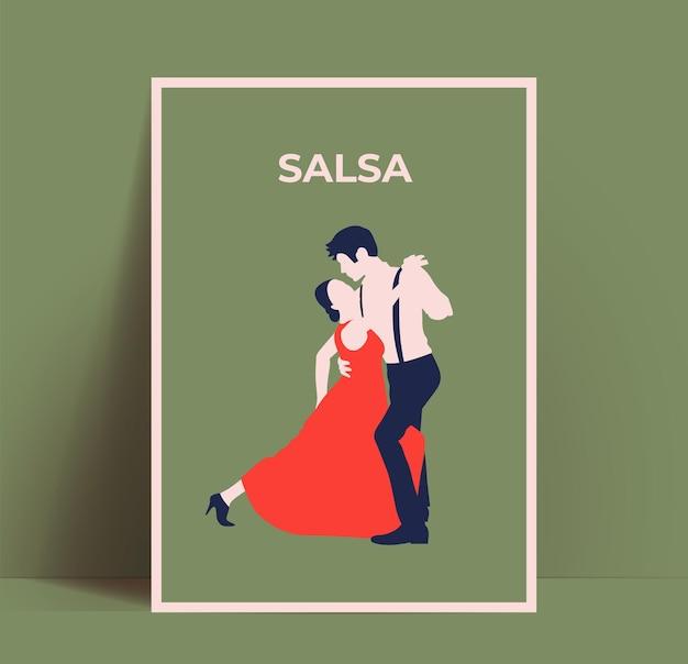 Plakat tańca salsy lub ulotka lub szablon projektu promocji tańców latynoamerykańskich