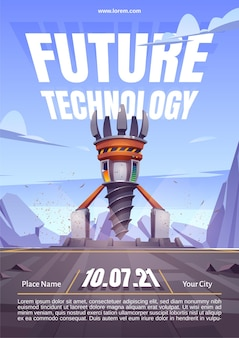 Plakat technologii przyszłości z wiertnicą