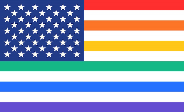 Plakat tęczy flagi stanów zjednoczonych ameryki