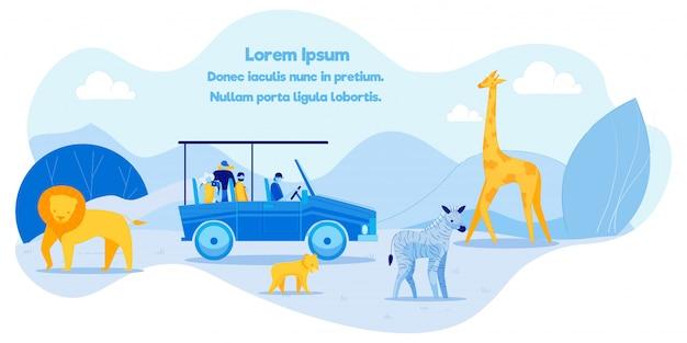 Plakat tekstowy promujący afrykańską rekreację na safari.