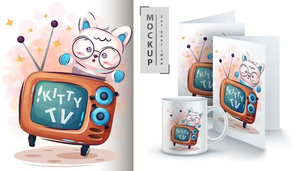 Plakat telewizyjny kitty i merchandising