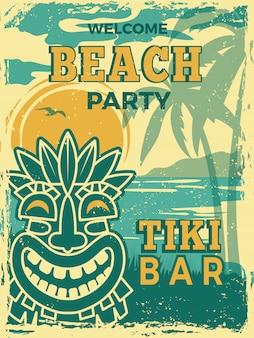 Plakat tiki bar. hawajska plaża letnie przyjęcie zaproszenie tiki plemienne drewniane maski retro plakat